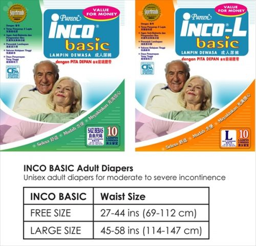 INCO BASIC Adult Diapers (New)